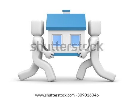 People carry house - stock photo
