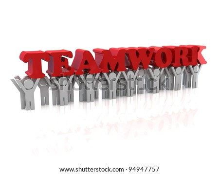 People carry teamwork text