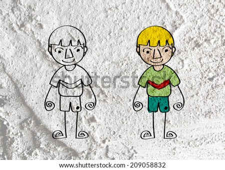 People cartoon   on Cement wall texture background - stock photo