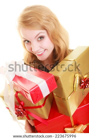 People celebrating holidays, love and happiness concept - smiling blonde girl with gift boxes isolated