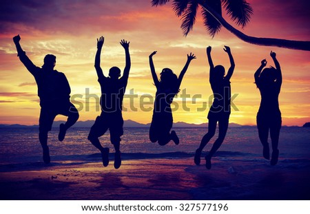 People Celebration Beach Party Summer Vacation Concept - stock photo