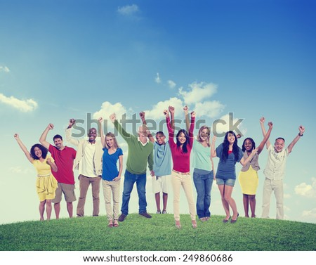 People Celebration Multiethnic Group Happiness Success Concept