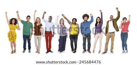 People Celebration Success Multiethnic Group Diversity Community Concept - stock photo