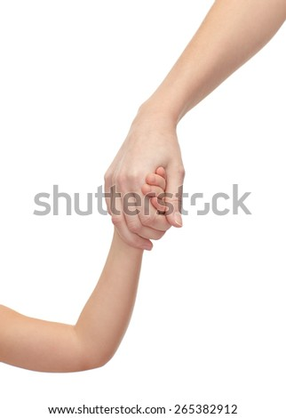 people, charity, family and adoption concept - close up of woman and little girl holding hands - stock photo