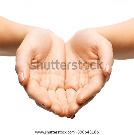 people, charity, help and support concept - close up of womans cupped hands - stock photo