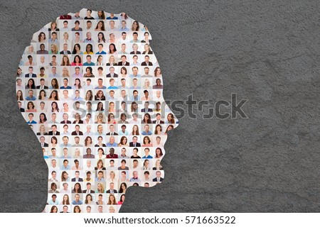 People Collage Superimposed Concept Photo On Human Face