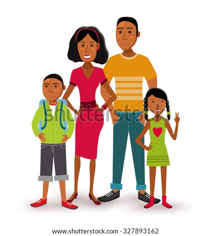 People collection: nuclear family group generation with dad, mom, son and daughter in flat style illustration.  - stock photo