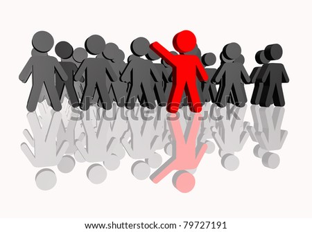 People concept of union in blue and leadership in red - stock photo