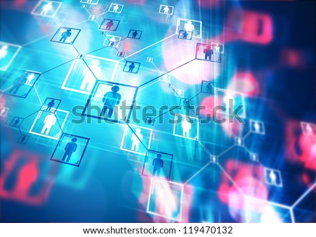People Connected - Conceptual image with connecting people - stock photo