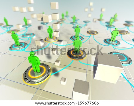 People connected in a virtual network. Digital illustration. - stock photo