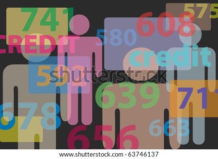 People credit bureau score report card numbers - stock photo