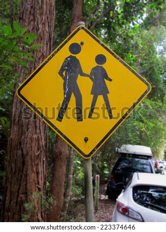 People Crossing sign in National Park - stock photo