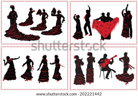 People dancing flamenco. Set of black and red silhouettes on white background. - stock photo