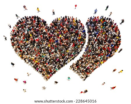 People dating and finding love. Large crowd of people in the shape of hearts. - stock photo