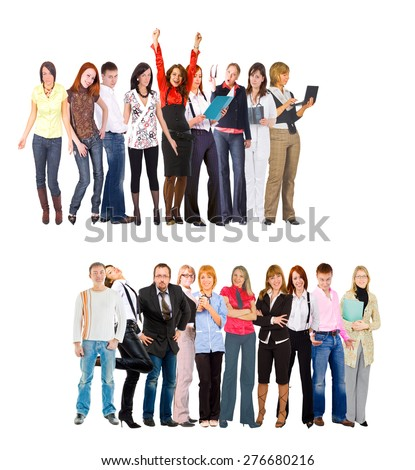 People Diversity Team over White  - stock photo