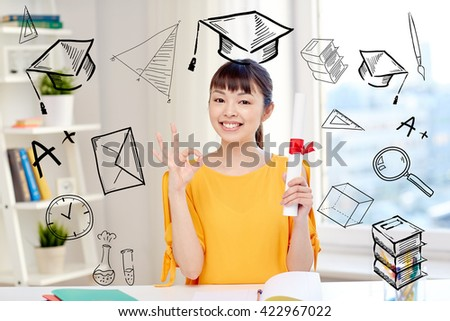people, education, school, graduation and learning concept - happy asian young woman student with diploma scroll at home showing ok hand sign with doodles - stock photo