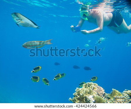 People engage in snorkeling in the Red Sea and photographed underwater