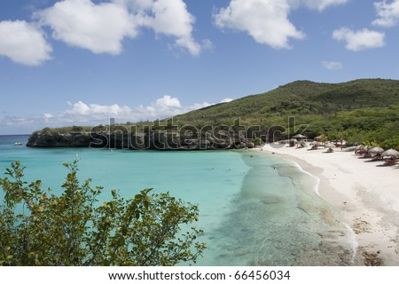 People enjoy shade and water on tropical beach - stock photo