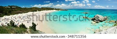 People enjoying on pink beach in Bermuda islands - stock photo