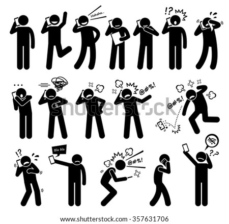 People Expressions Feelings Emotions While Talking on a Cellphone Stick Figure Pictogram Icons - stock photo