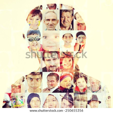 People faces head collage concept - stock photo