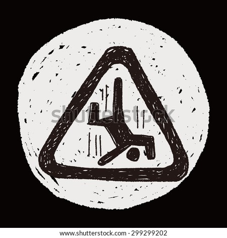 people fall sign doodle - stock photo