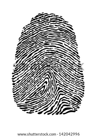 People fingerprint isolated on white background for security concept design - stock photo