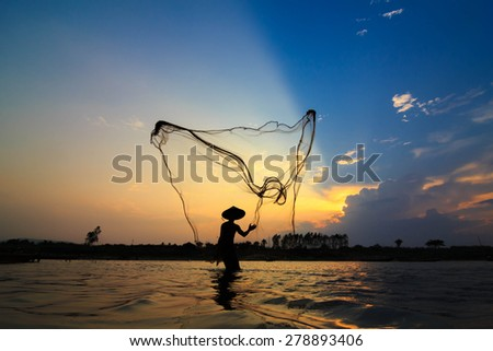 People fishing in the Northeast of Thailand. - stock photo