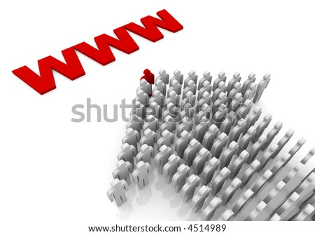 People form up in arrow moving to .com internet zone - stock photo