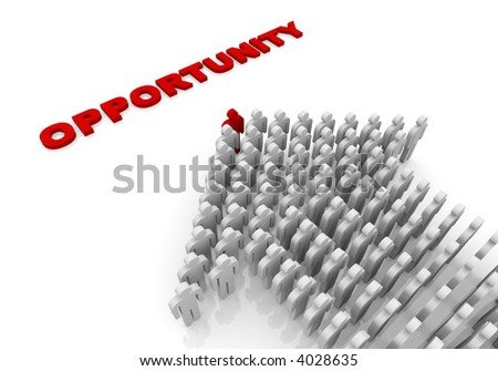 People form up in arrow moving to opportunity - stock photo