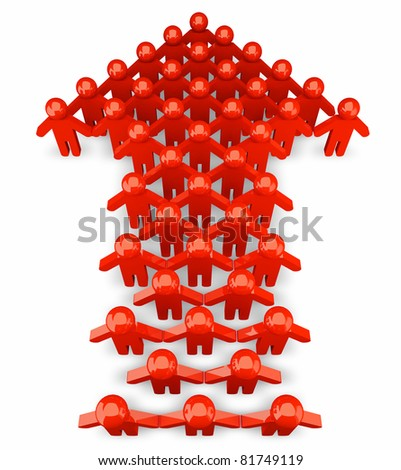 People form up in arrow  up - isolated - stock photo