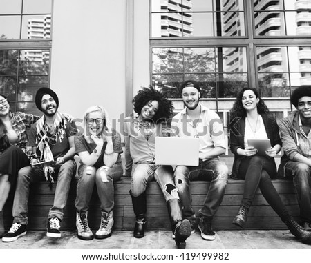People Friendship Team Digital Devices Connection Technology Concept - stock photo