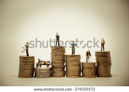 People from different social groups. Financial concept macro photo. Vintage color tone - stock photo