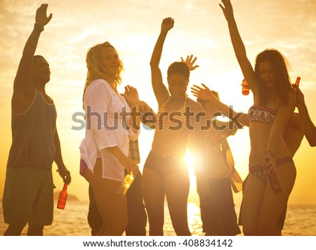 People Fun Beach Party Concept