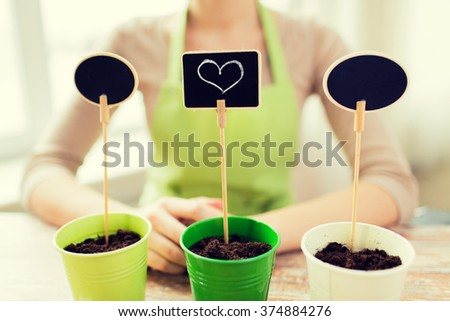 people, gardening, seeding, valentines day and holiday concept - close up of woman over pots with soil and signs - stock photo