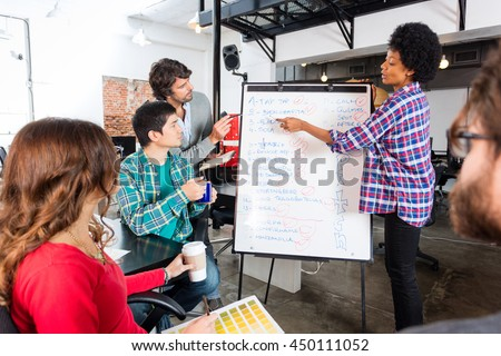 People group discussing new project woman whiteboard start up presentation with team colleagues in office, businesspeople mix race casual wear brainstorming flipchart - stock photo