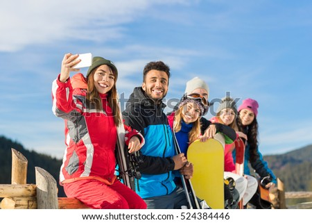 People Group With Snowboard And Ski Resort Snow Winter Mountain Cheerful Taking Selfie Photo Friends Hands Having Fun