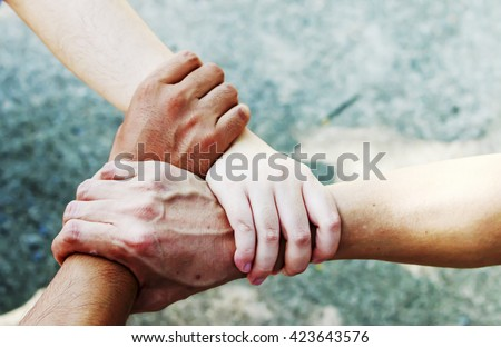 People Hand Assemble Corporate Meeting Teamwork Concept - stock photo
