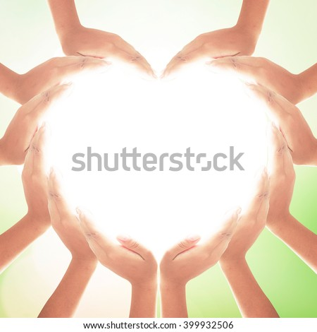 People hand heart shape. Dignity Unity Pray Valentine God Generosity Many Blessing Kidney CSR Water Body Hope Autism Awareness Sick Teamwork Friend Web Group Crowd Assist Touch Support Belief Forest - stock photo