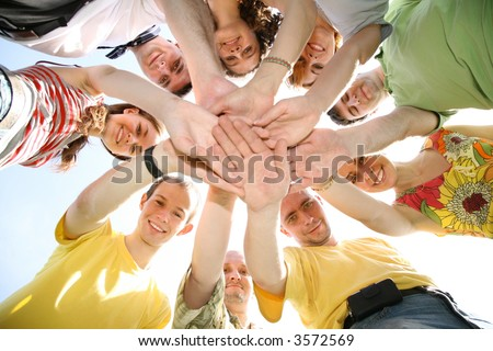 people hands sky - stock photo