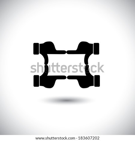 people hands together forming shape - teamwork graphic concept. This icon also represents framing a photo or video, film making, director's vision, motion picture making, team & community unity - stock photo