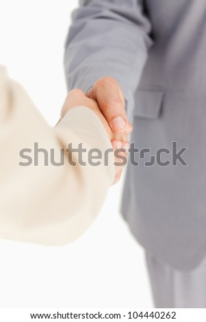 People having an agreement against white background - stock photo