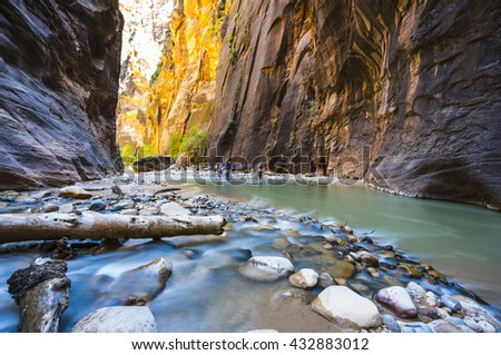 people hiking in zion narrow  with  virgin river in summer season,Zion National park,Utah,usa. - stock photo
