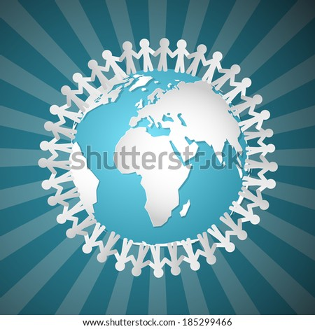People Holding Hands Around Globe  - stock photo