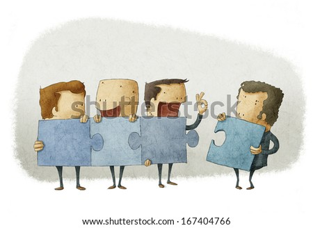 People holding pieces of a jigsaw - stock photo