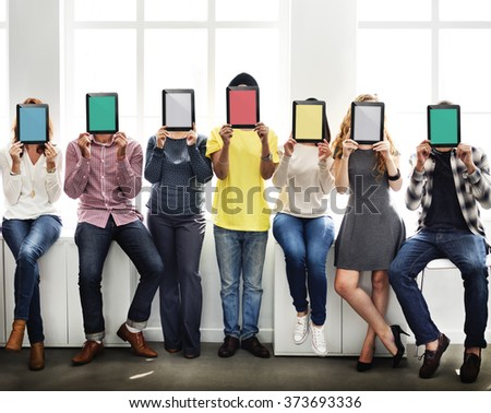 People Holding Tablet Social Media Concept - stock photo