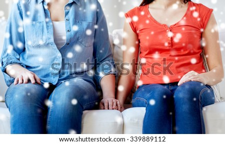 people, homosexuality, same-sex marriage, gay and love concept - close up of happy lesbian couple sitting on sofa at home over snow effect - stock photo