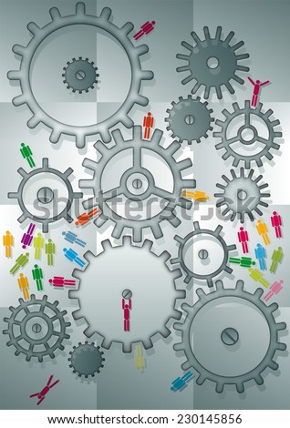people icons between machinery - stock photo
