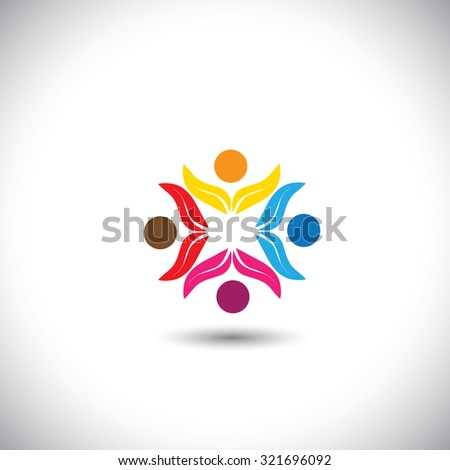 people icons, friends together, kids playing - concept graphic icon. This graphic in circle also represents unity, solidarity, teamwork, friendship, eco team, children having fun - stock photo