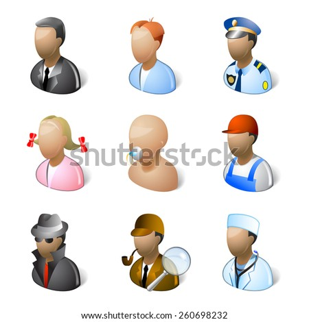 People icons isolated on a white background. This icon set made in Windows Vista/7 style. - stock photo